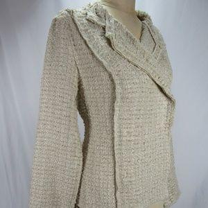 Cabi Beige Oatmeal Double Breasted Tweed Coat M